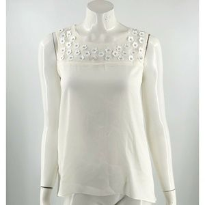 Ann Taylor Sleeveless Top Sz Small White Sequin